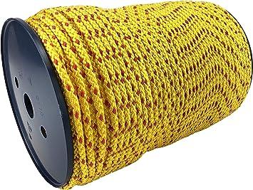 Corde tress/ée double en polypropyl/ène tress/é Jaune 12 mm longueur : 1 m