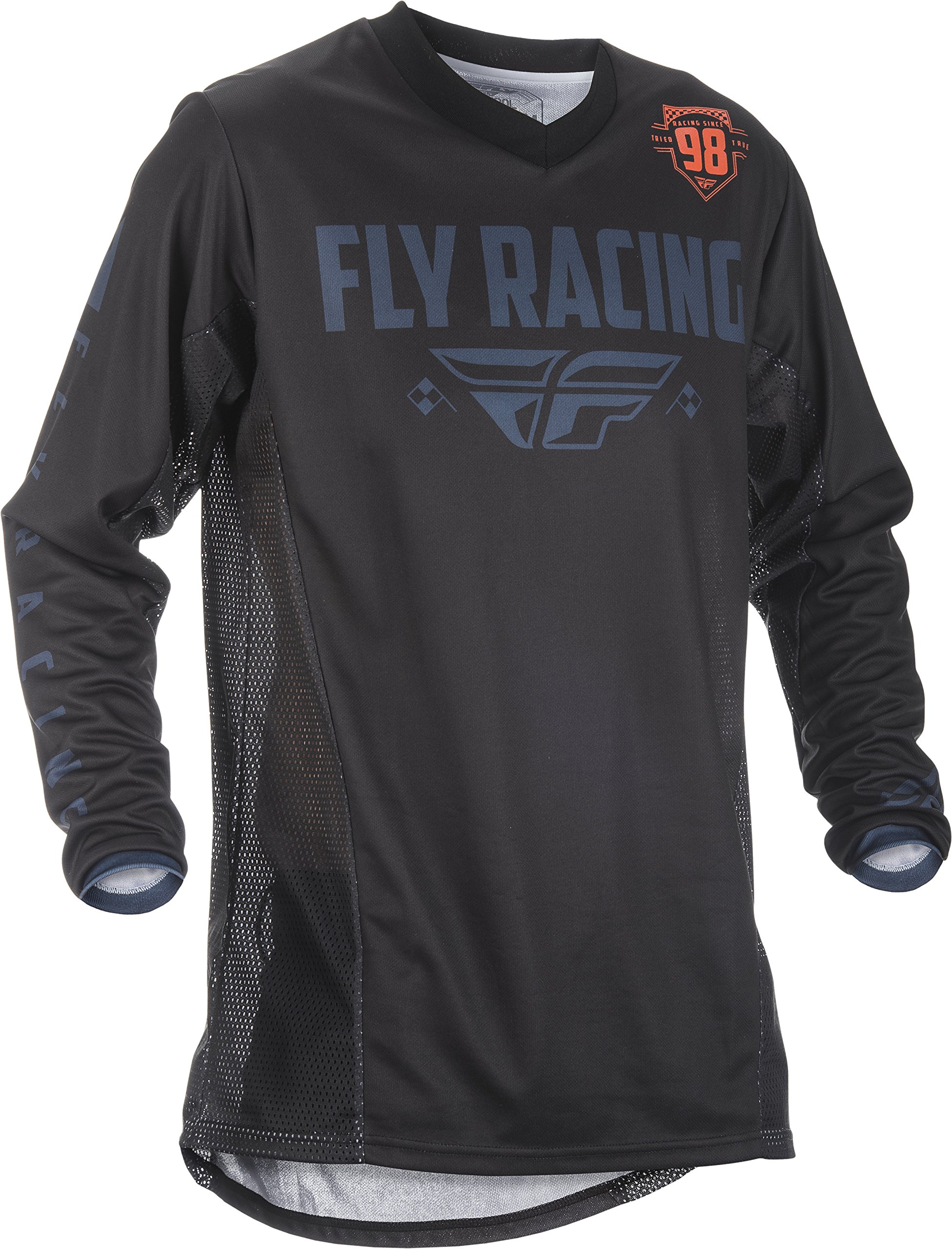Fly Racing Men's Patrol Jersey(Shorty Cuff) (Black/Grey, Large)