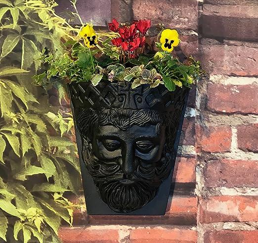 Pack de 2 reyes cabeza jardín pared macetas negro efecto 6 litros de capacidad: Amazon.es: Hogar