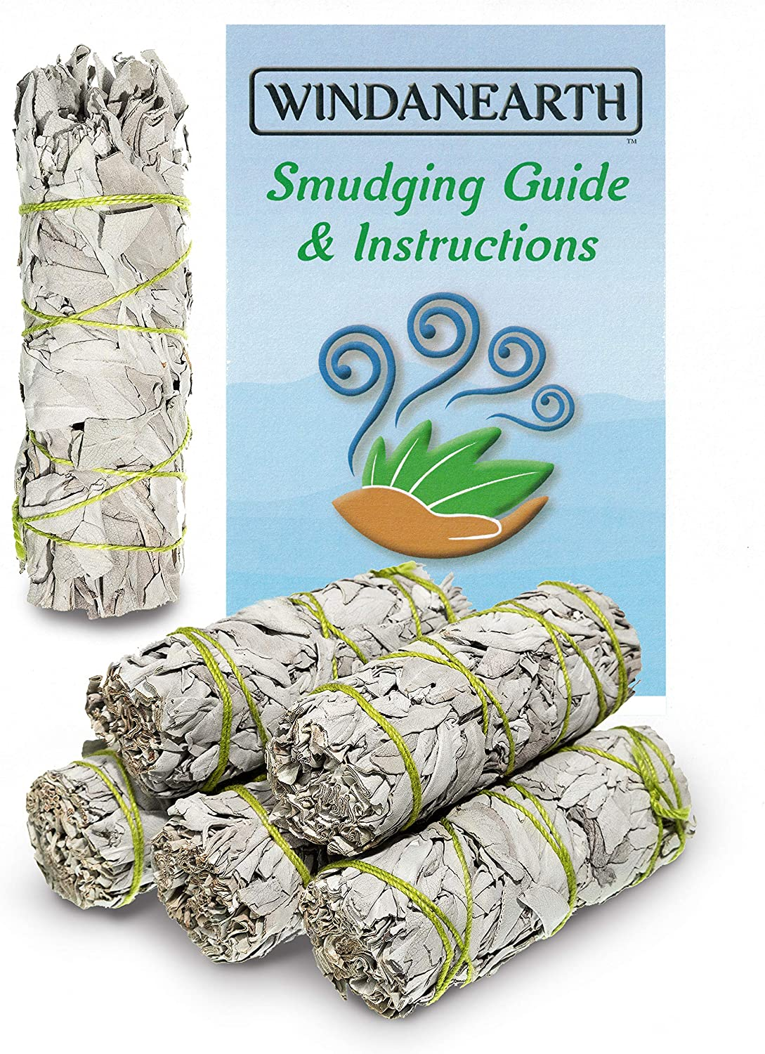 """Windanearth White Sage Smudge Sticks - 6 Pack 4"""" Inch California White Sage Incense Sticks for Cleansing. Sage Smudge Kit Replenishment. Sage Bundles Grown and Packaged in The USA."""