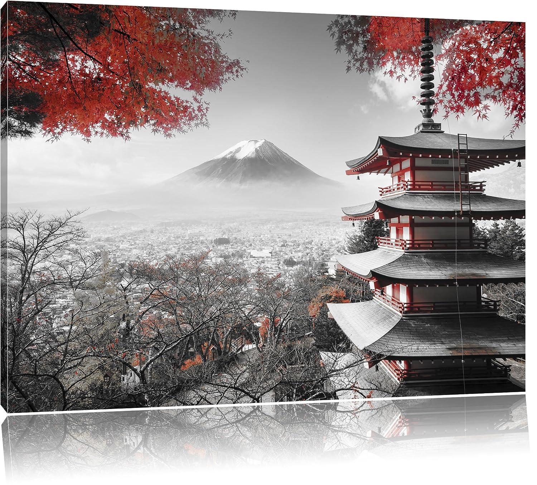 Japanischer Tempel im Herbst Schwarz/Weiß, Format: 100x70 auf ...