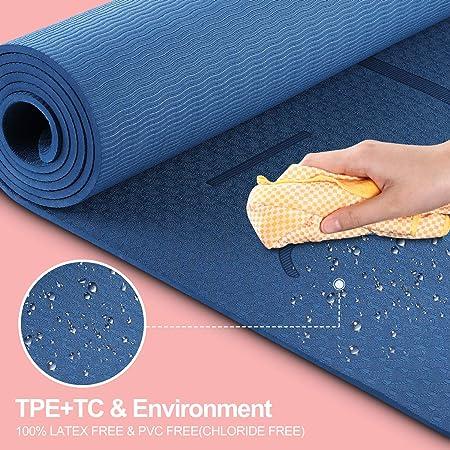 TPE schadstofffrei gymnastikmatte turnmatte mit yogaline ANVASK Yogamatte rutschfest sportmatte f/ür Training Pilates Gymnastik Naturkautschuk fitnessmatte 183 0.6cm 61