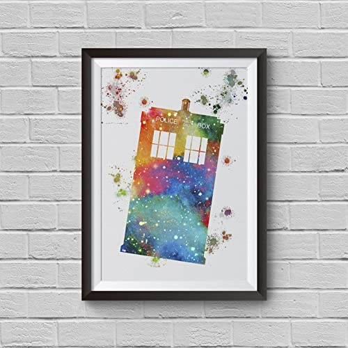 Amazon.com: Tardis Dr Who inspired Watercolor Painting Police Box ...