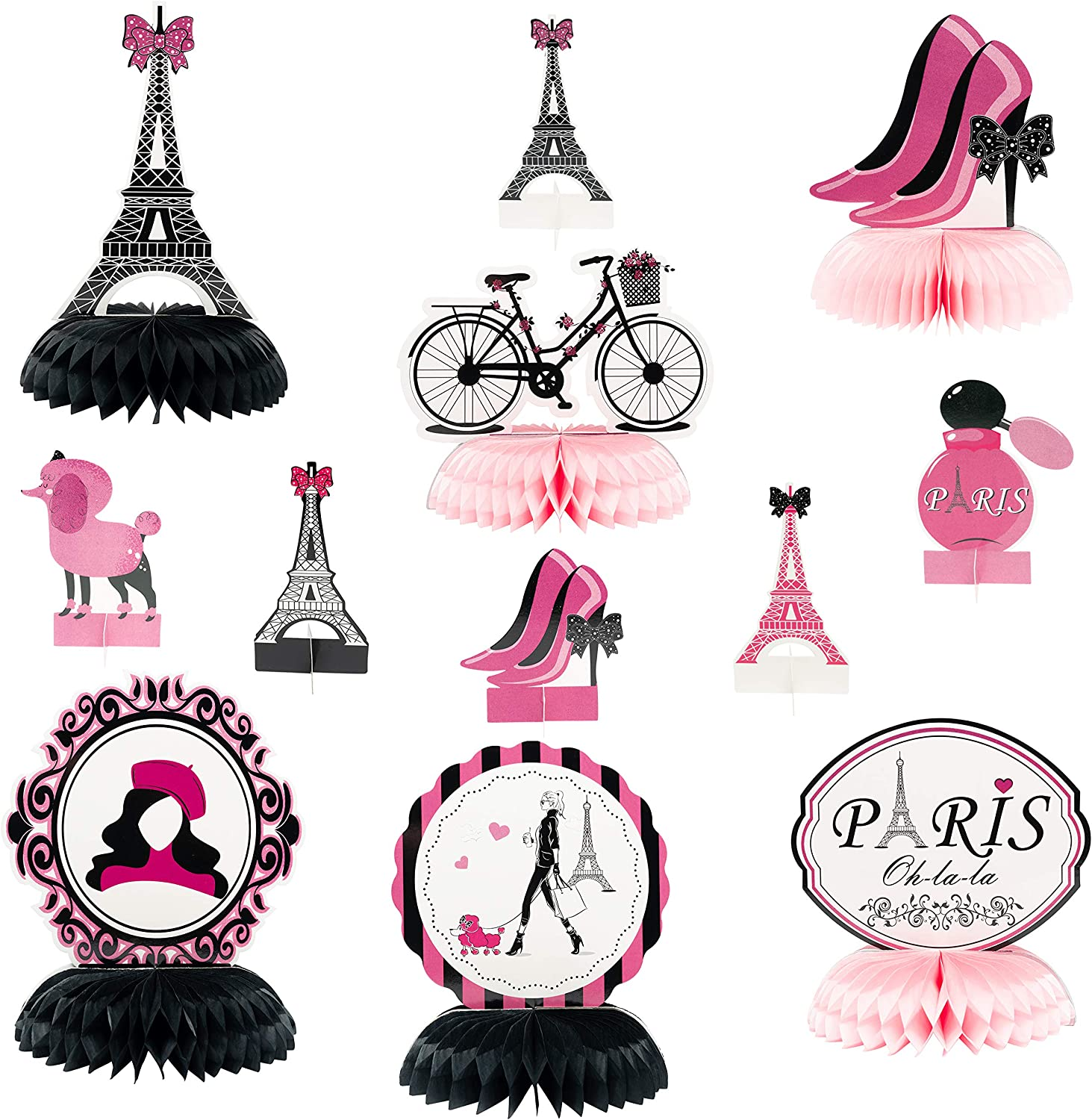 MALLMALL6 12Pcs Paris Honeycombs Centerpieces Party in Paris Party Supplies Birthday Baby Shower Decorations Girls Dream Paris Themed Photo Booth Romantic Eiffel Tower Pink Table Topper for Home