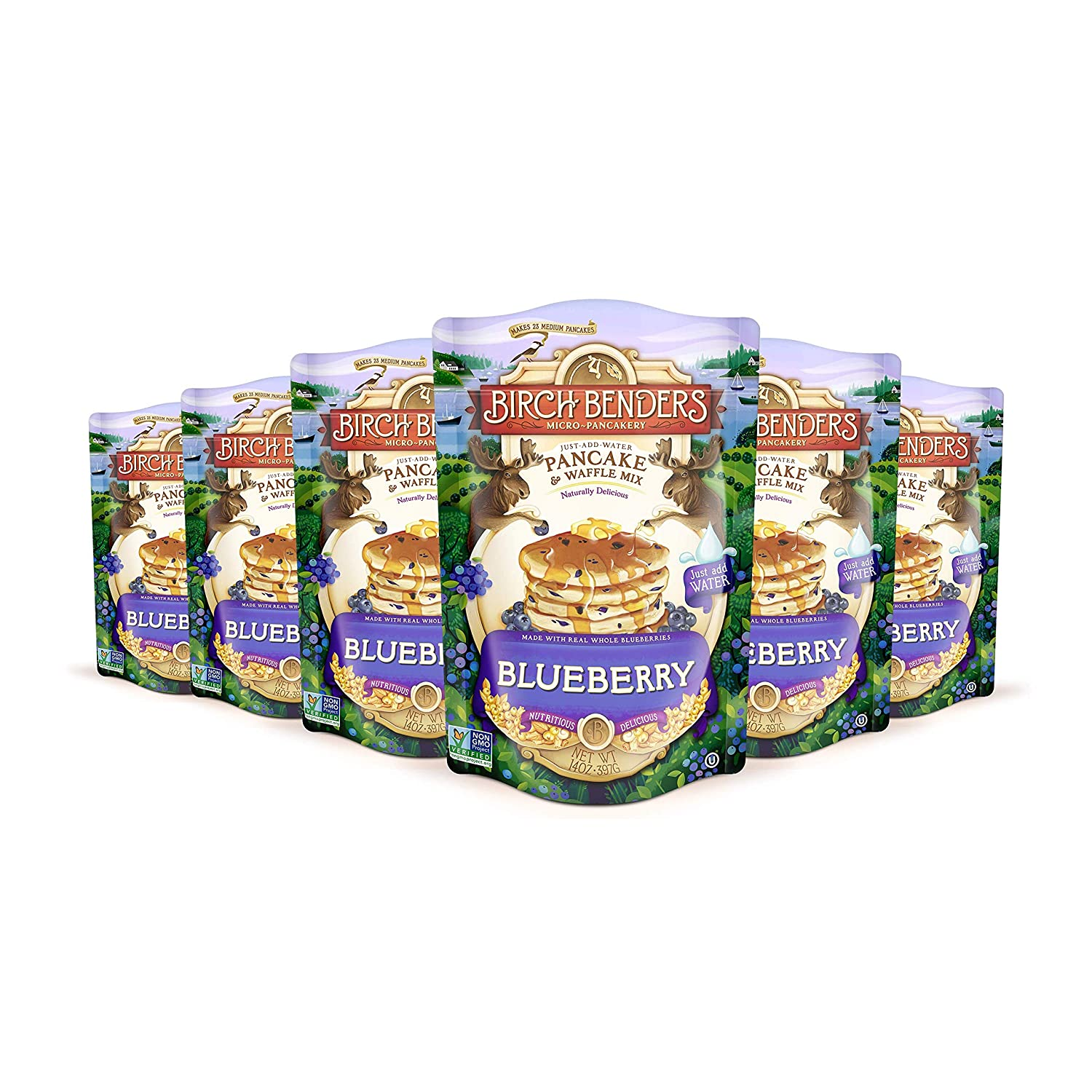 Blueberry Pancake & Waffle Mix By Birch Benders, Made With Real Blueberries, Just Add Water, Non-Gmo, Dairy Free, Just Add Water, Family Size, 6 Pack (14 Oz Each)