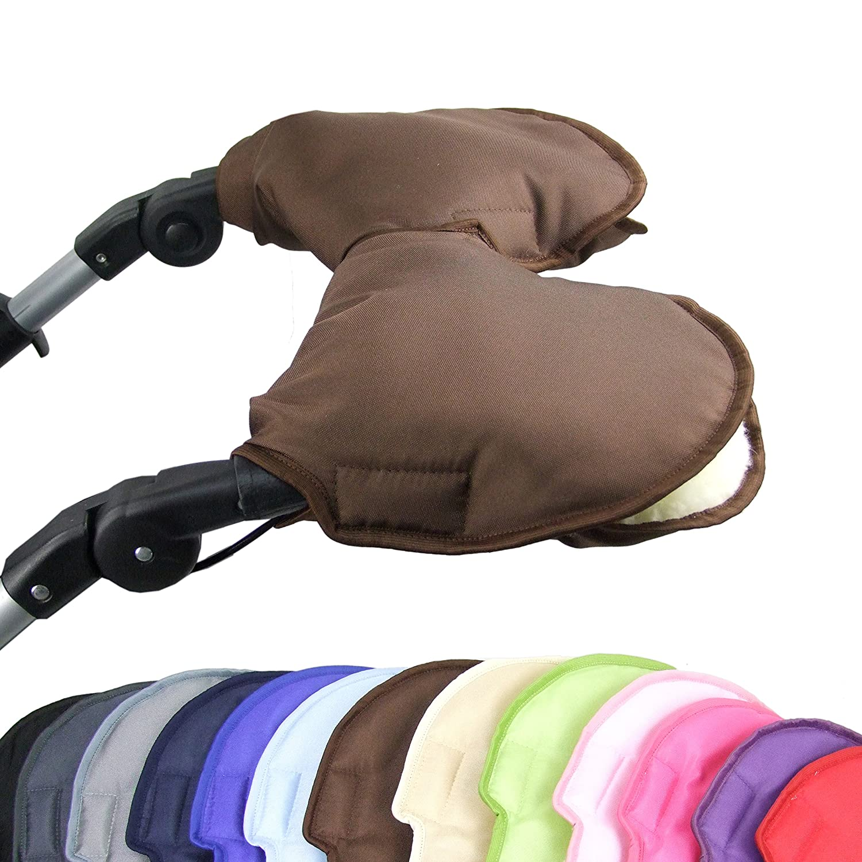 Jogger mit Wolle Buggy Uni BAMBINIWELT universaler Muff//Handw/ärmer f/ür Kinderwagen 2-TEILIG beige