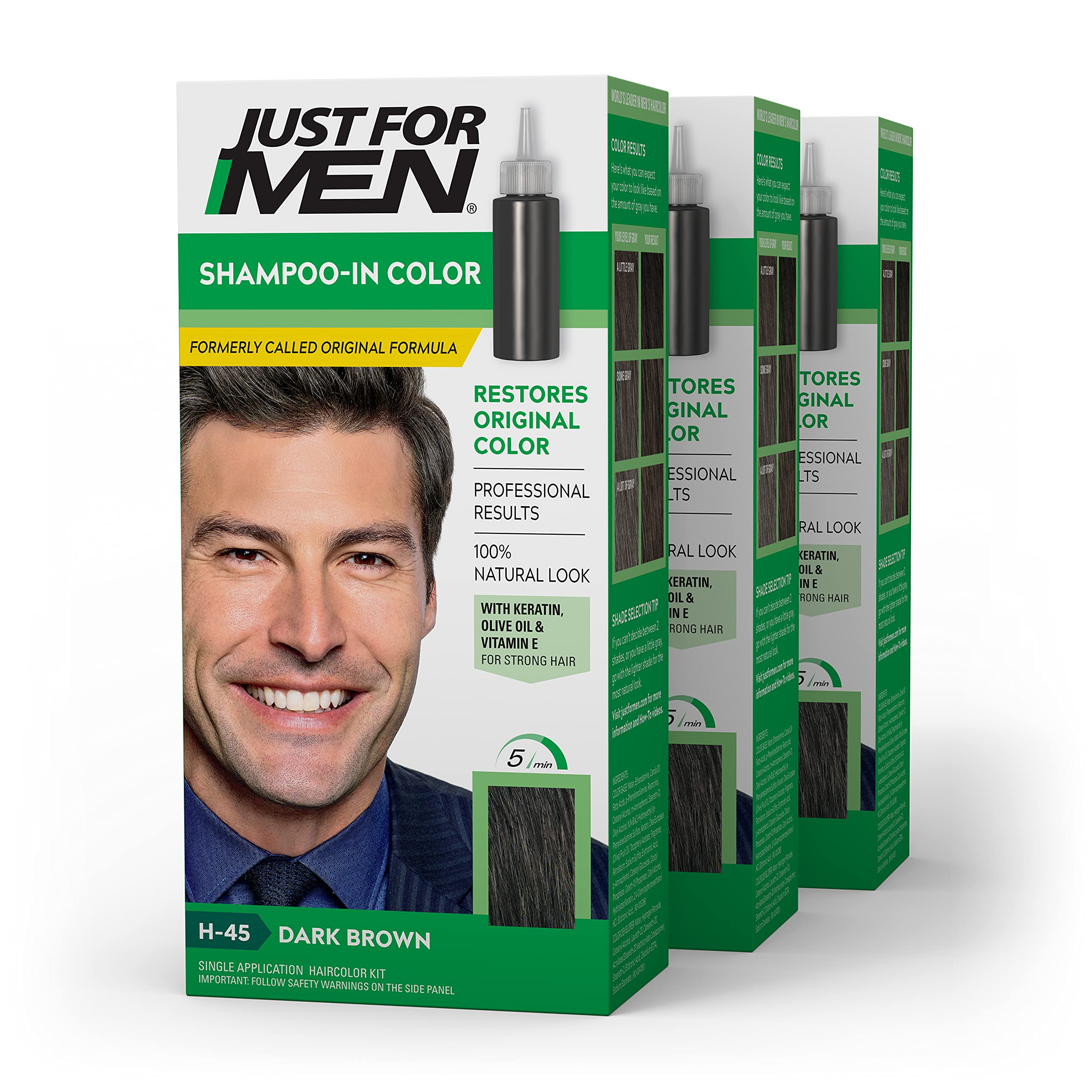 Just For Men Shampoo-In Color (Formerly Original Formula), Gray Hair Coloring for Men - Dark Brown, H-45, Pack of 3 (Packaging May Vary)
