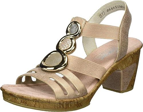 Rieker Damen 69752 Offene Sandalen mit Keilabsatz: VPtWD