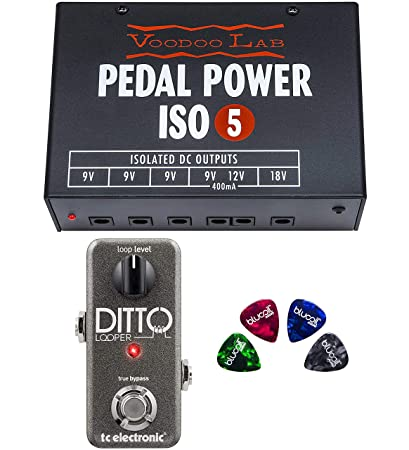 TC Electronic Ditto Looper Pedal Bundle with Voodoo Lab Pedal Power ISO-5 Isolated Power