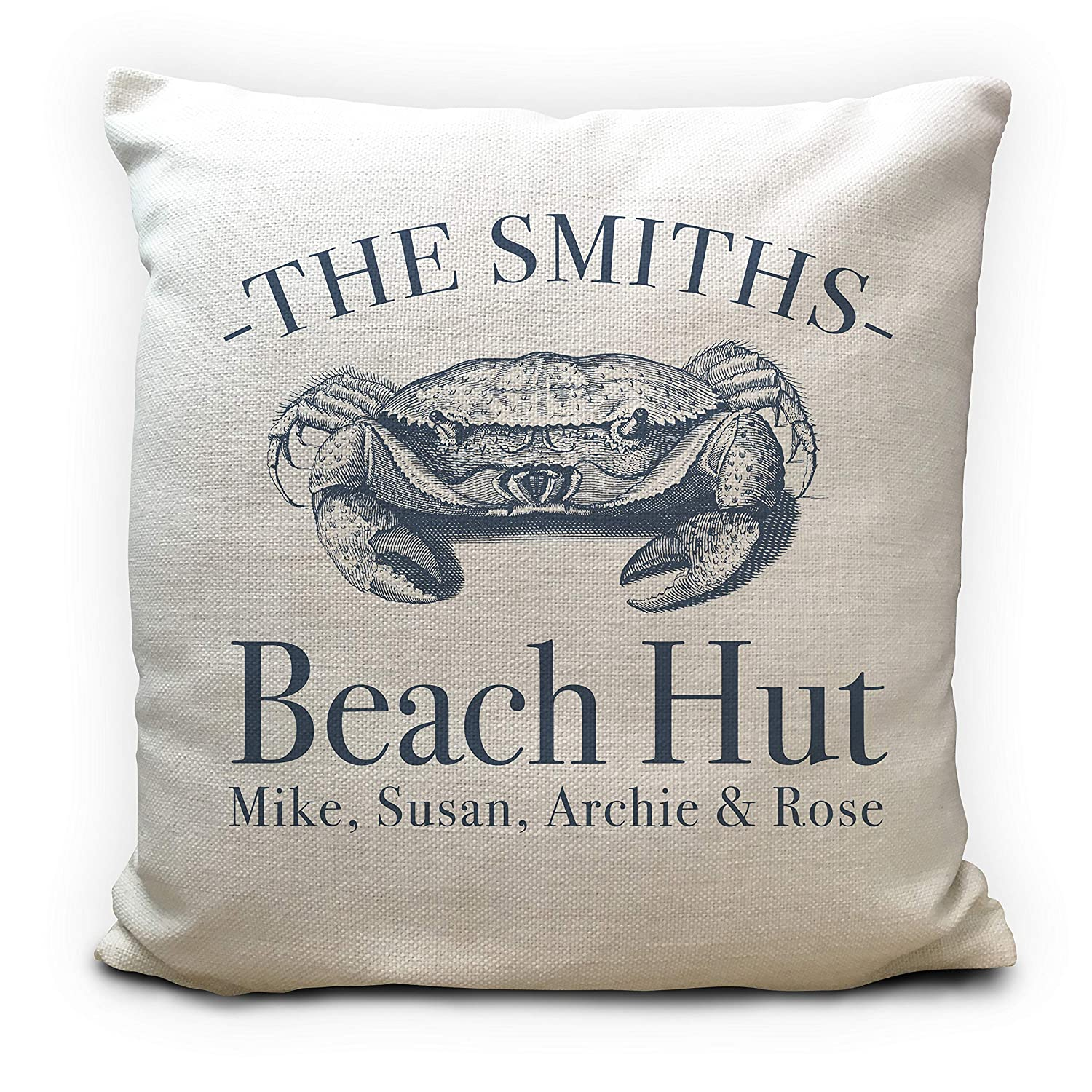 Family Names Personalised Beach Hut Holiday Home Crab Cushion Cover Gift 40cm 16 inches Surname