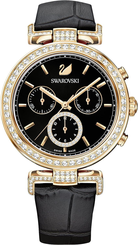 Swarovski Reloj Era Journey, para Mujer, Correa en piel, negro, PVD en tono Oro Rosa