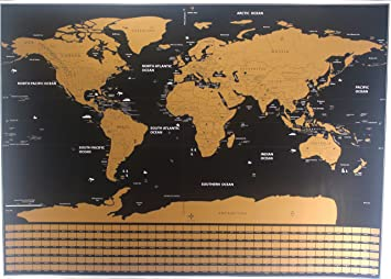 Amazon scratch off world map premium quality large wall scratch off world map premium quality large wall decoration poster gold deluxe thick travel detailed outlined gumiabroncs Images