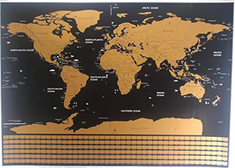Amazon scratch off world map premium quality large wall scratch off world map premium quality large wall decoration poster gold deluxe thick travel detailed outlined gumiabroncs Gallery