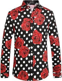 SSLR Camisa Manga Corta Casual Hombre de Rosas y Lunares Grandes (Small, Negro): Amazon.es: Ropa y accesorios