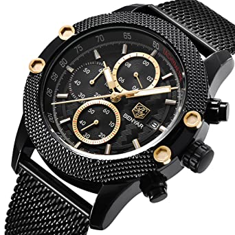 benyar Hombres Reloj 5109 M cuarzo cronógrafo impermeable relojes Business Casual Deporte malla banda reloj: Amazon.es: Relojes
