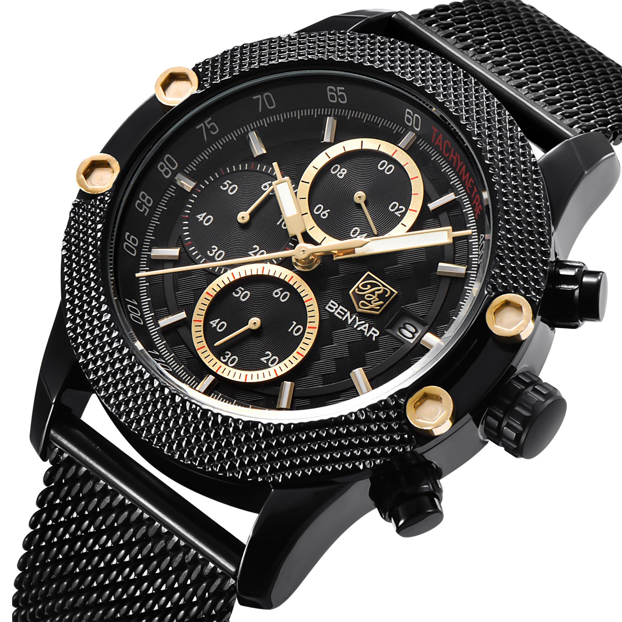 BENYAR Men Watch 5109M Quartz Chronograph Waterproof Watches Business Casual Sport Mesh Band Watch(Black&Gold)
