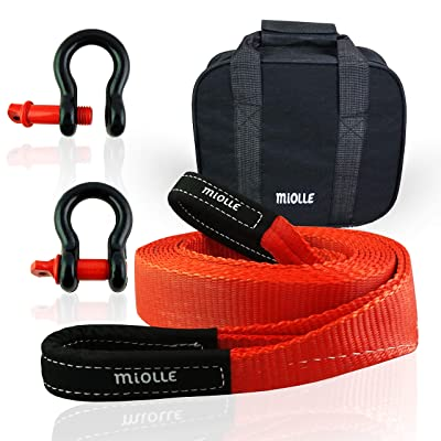"Miolle Tow Strap 2""x20' (20000lb) with Loops and D-Hook Shackles - Recovery Rope Heavy Duty - Towing Straps - Snatch Ropes for Truck and Car: Automotive"