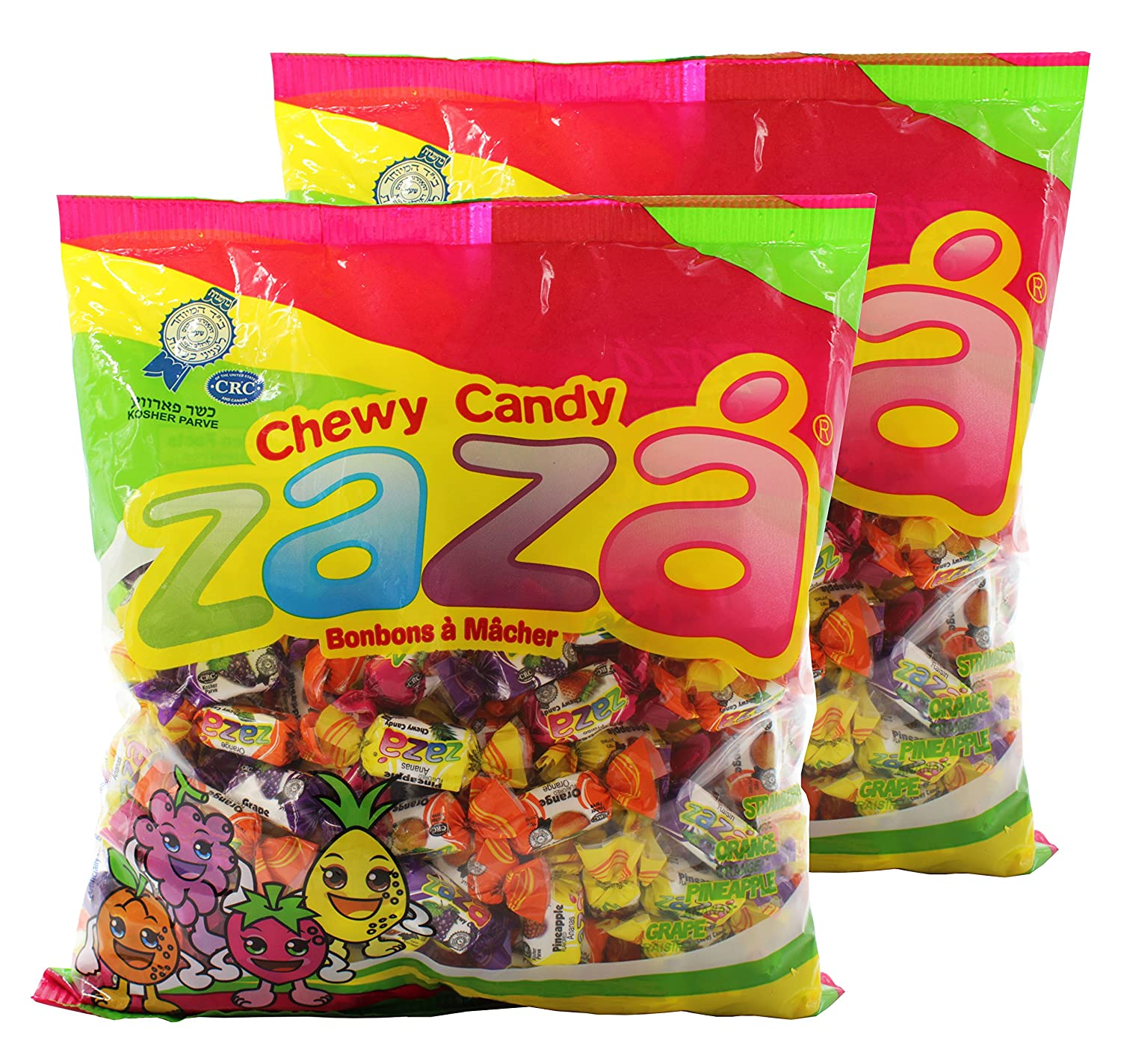 Amazon.com : Zaza Assorted Flavors & Colors Fruit Chewy Candy ...