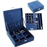 "PENGKE 2 Layer Jewelry Organizer for Women and Girls, velvet, Deep Blue, 10.3""x10.3""x3.3"""
