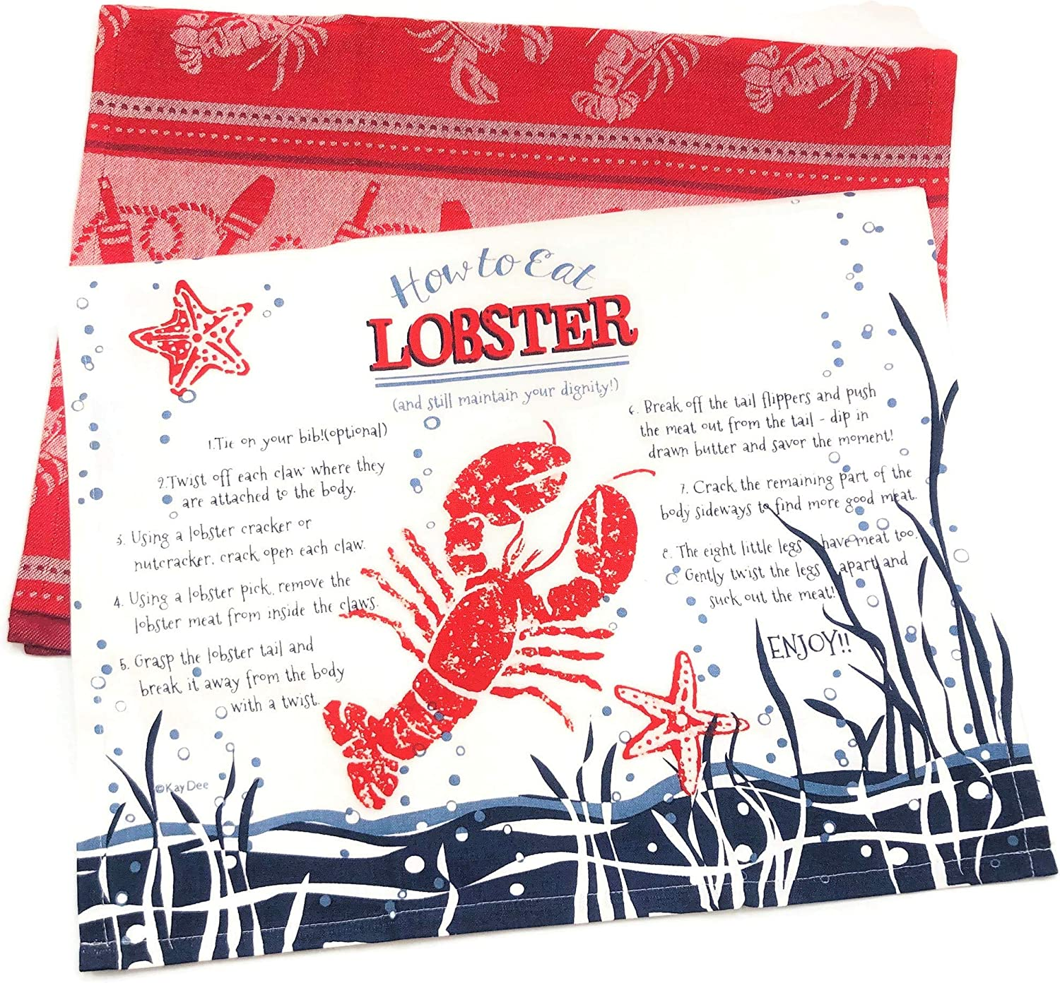 Set of 2 Lobster Towels for Cooking Cleaning Drying Baking Kay Dee Designs How to Eat Lobster Tea Towel /& Lobster Jacquard Tea Towel Kitchen Dishtowels