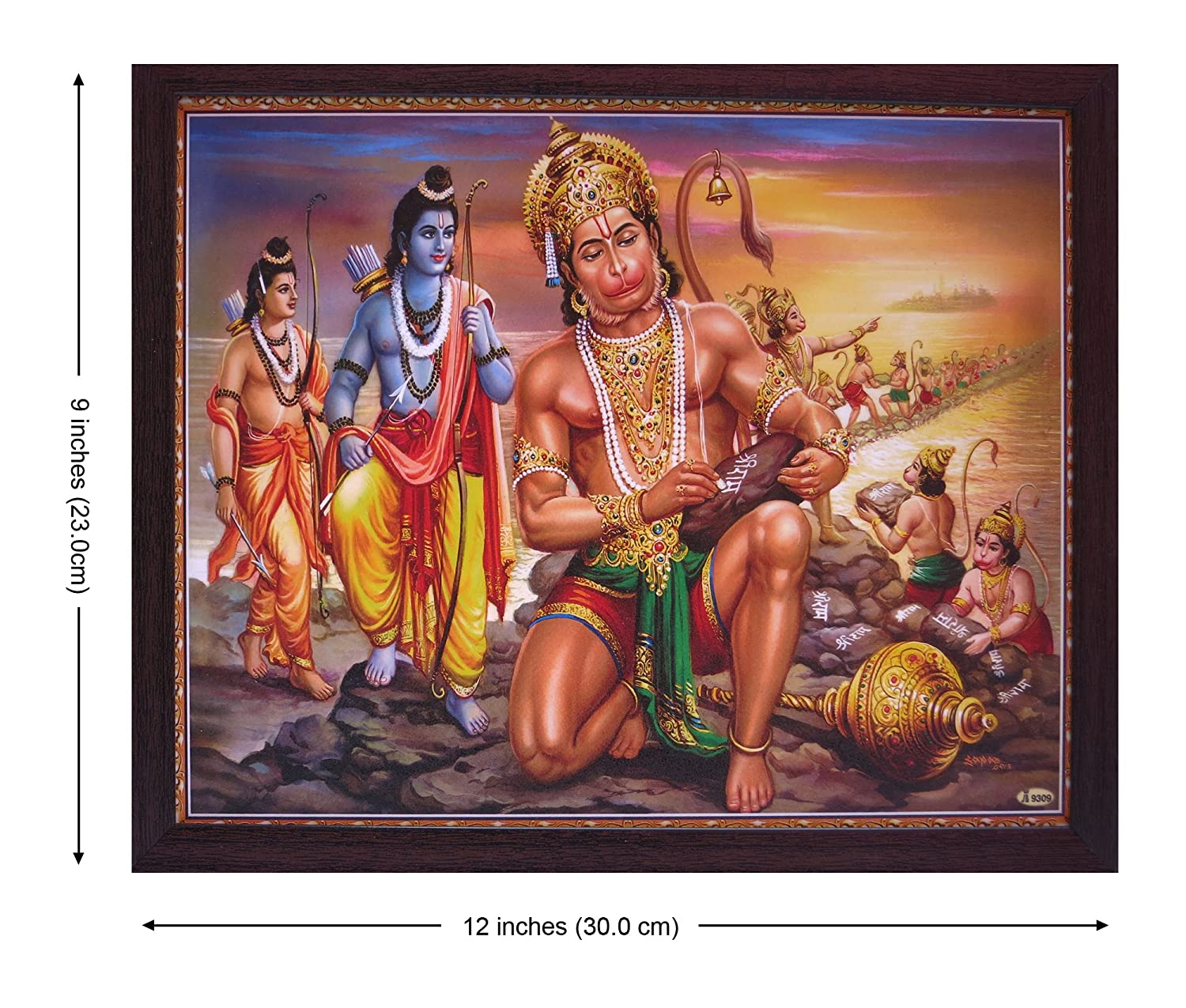A Holy Hindu Religious Poster Painting with Frame for Worship Purpose Hanuman is Writing Shree Ram Word on Stone
