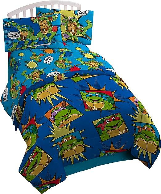NIckelodeon Teenage Mutant Ninja Turtles Team Turtles Twin Comforter - Super Soft Kids Reversible Bedding features the Turtles - Fade Resistant ...