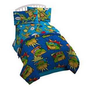 NIckelodeon Teenage Mutant Ninja Turtles Team Turtles Twin Comforter - Super Soft Kids Reversible Bedding features the Turtles - Fade Resistant Polyester Microfiber Fill (Official NIckelodeon Product)
