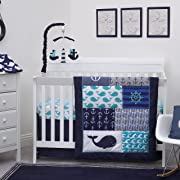 Nautica Kids Set Sail Nautical/Anchor/Whale 4 Piece Nursery Crib Bedding Set, Navy, Aqua, Grey, White