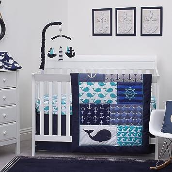 Charmant Amazon.com : Nautica Kids Set Sail Nautical/Anchor/Whale 4 Piece Nursery  Crib Bedding Set, Navy, Aqua, Grey, White : Baby