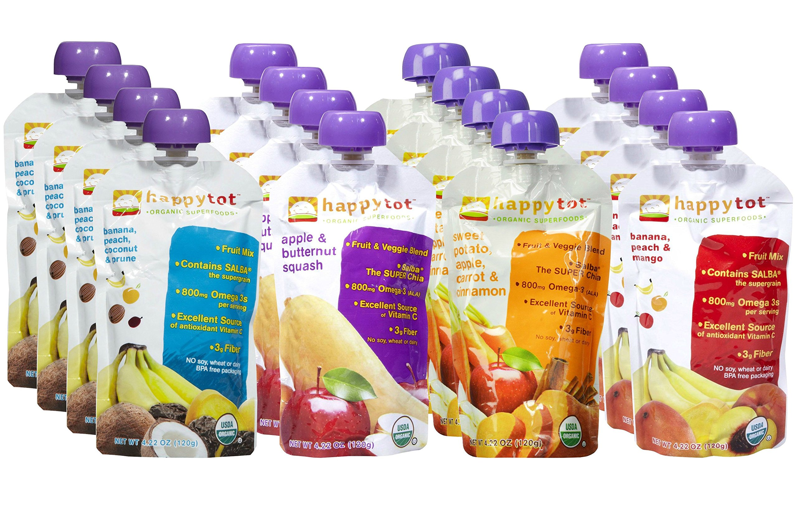 Happy Tot Organic Superfoods Stage 4, 4.22 OZ Baby Food Pouches Variety Pack of 16 (Banana Peach Prunes Coconut, Apple and Butternut Squash, Sweet Potato Apple Carrots Cinnamon, and Banana Mango & Peach) by HAPPYBABY
