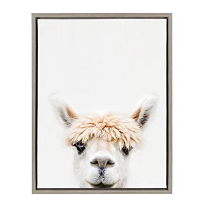c81005b1bd Image Unavailable. Image not available for. Color  Kate and Laurel Sylvie  Alpaca Bangs Animal Print Portrait Framed Canvas Wall Art ...