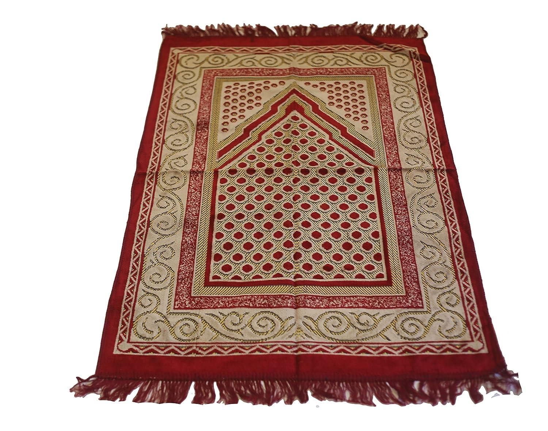 Islamic Prayer Rug Velvet Kadife Mihrab Janamaz Sajjadah Muslim Namaz Seccade Turkish Prayer Rug (Red) MKISLA