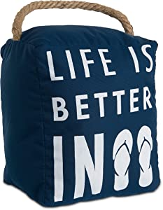 Pavilion Gift Company Open Door Decor - Life is Better in Flip Flops Beach Decor Navy Blue Door Stopper with Handle