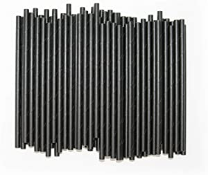 Paper Stirrer, Short Straw, 5 3/4 Inch, Eco- Friendly and Bio-Degradable Straws, For Coffee, Cocktails and Beverages, 250/Straws Bulk Pack, Black