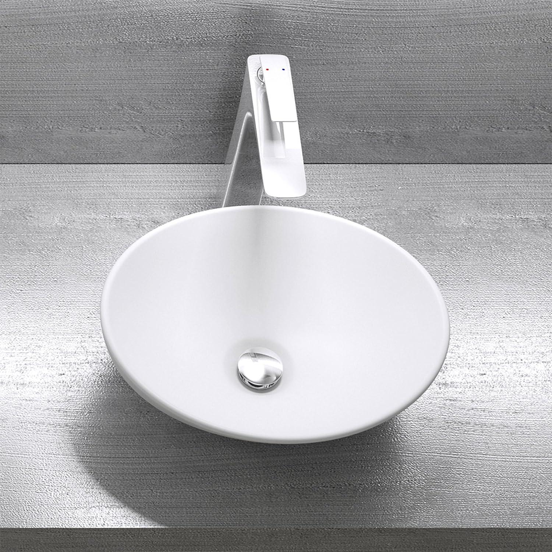Mai /& Mai lave main /évier vasque 41x33,1x14 cm en c/éramique blanc mat ovale sans per/çage pour robinet lavabo sans trop-plein /à poser BR205