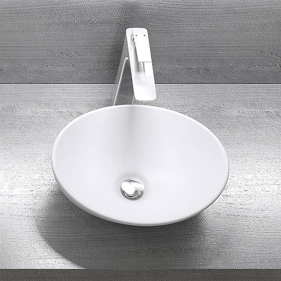 matt wei/ß mit Nano-Versiegelung Keramik Sogood Br/üssel205 Aufsatzwaschbecken
