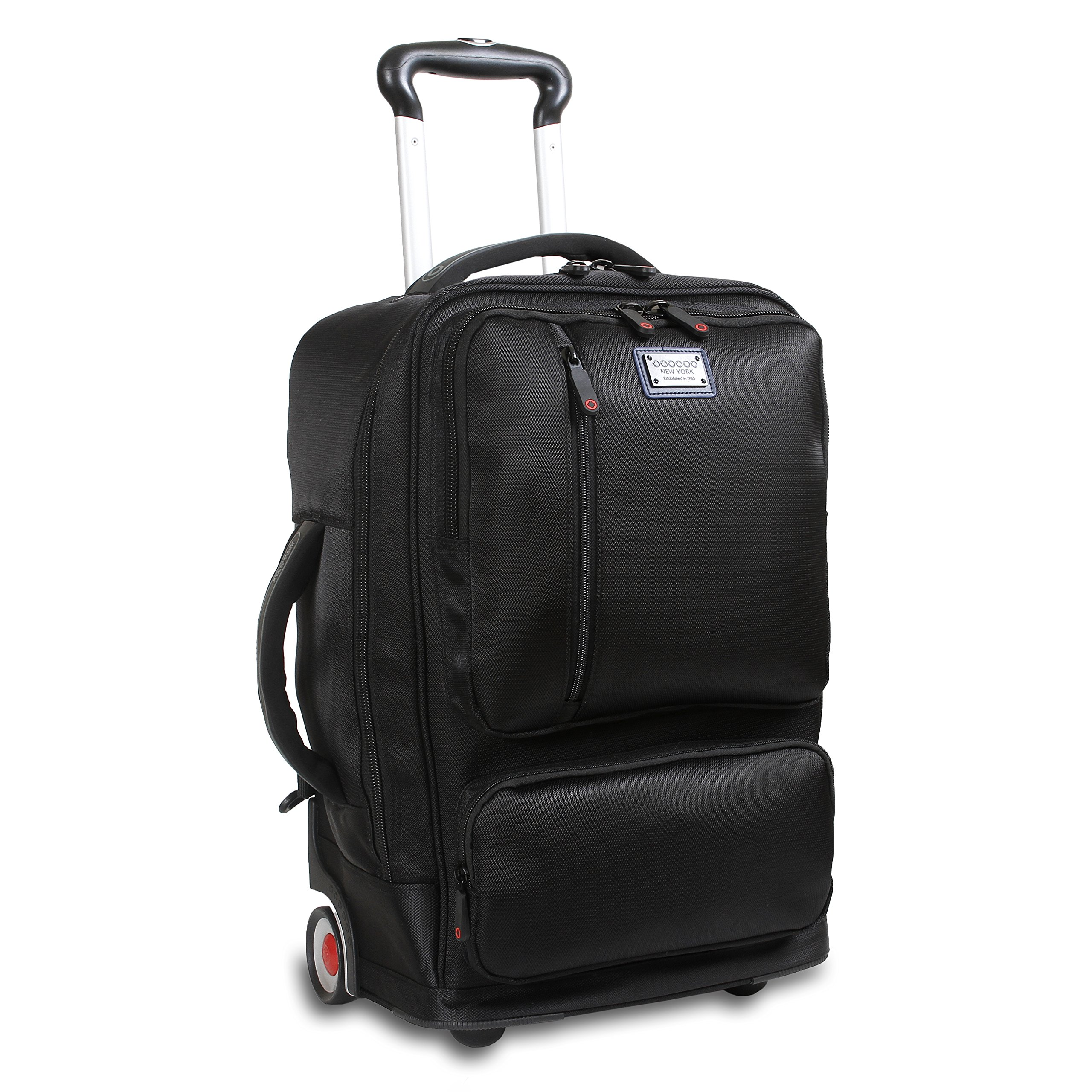 J World New York Oliver Business Rolling Backpack, Black