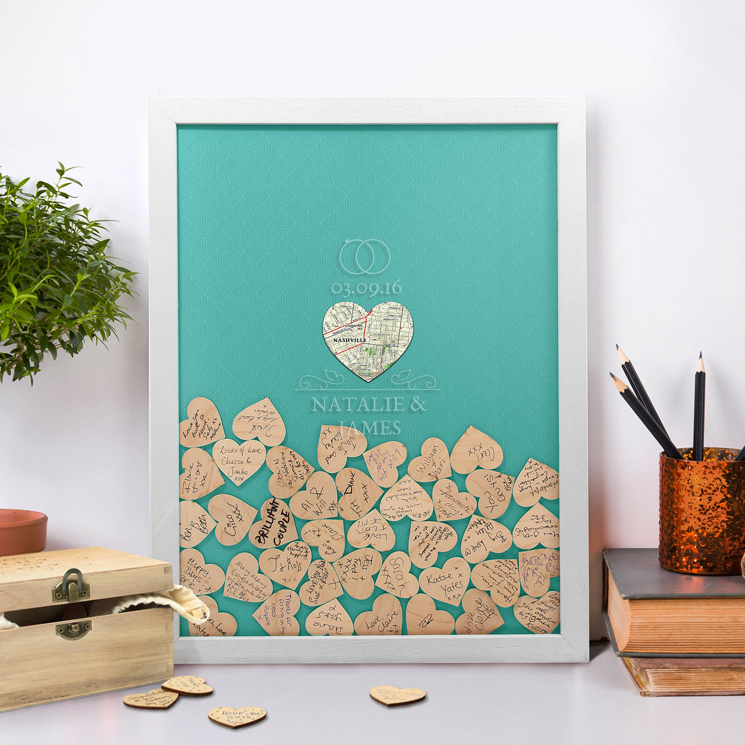 Wedding Drop Box - an alternative Wedding Guest Book (60 tokens, Teal Green) by Butler and Hill