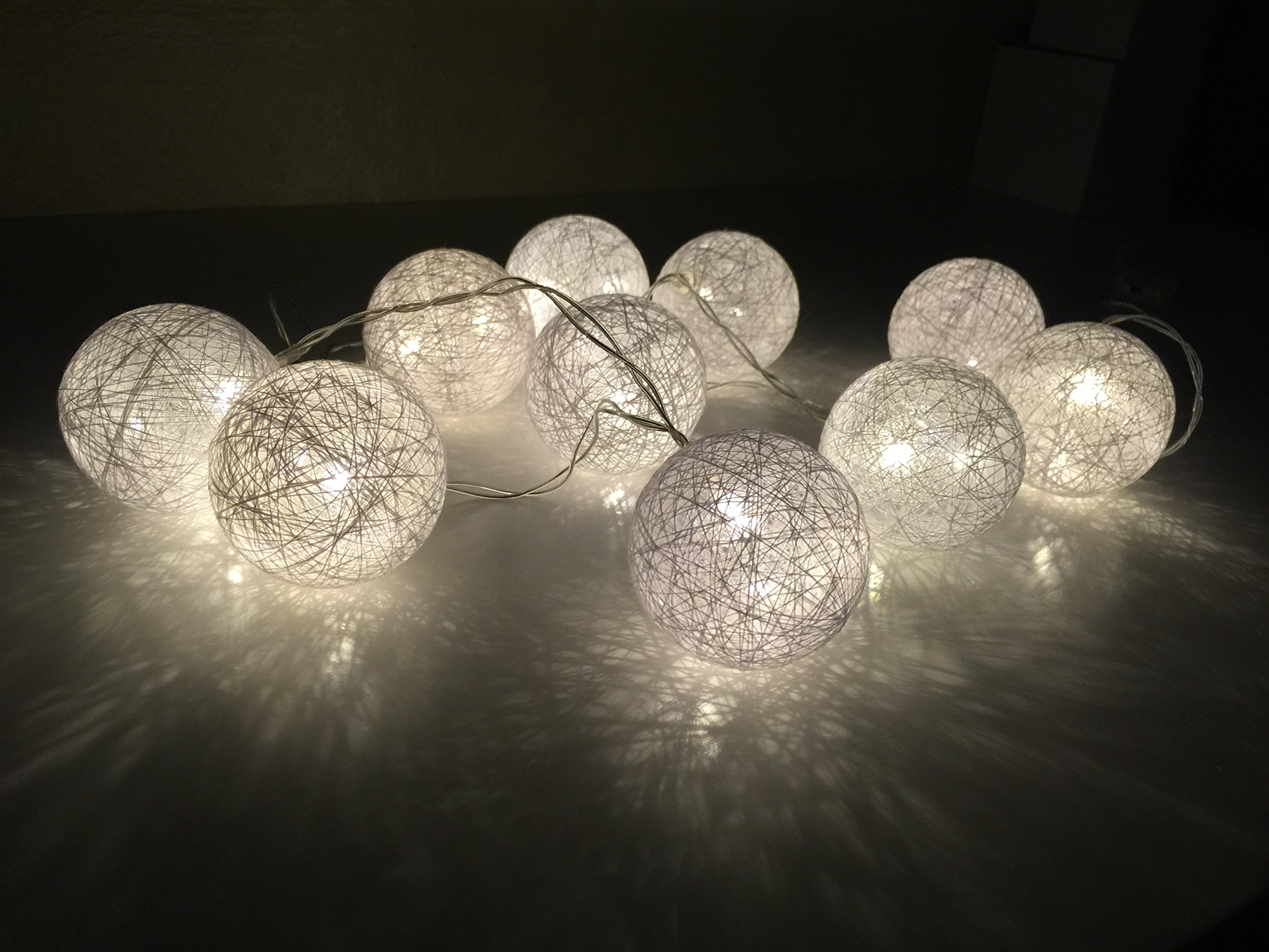 Decoarts LED String Lights in Warm Color Cotton Balls 6 ft.Indoor Outdoor Party Decoration 10 Lights (1)