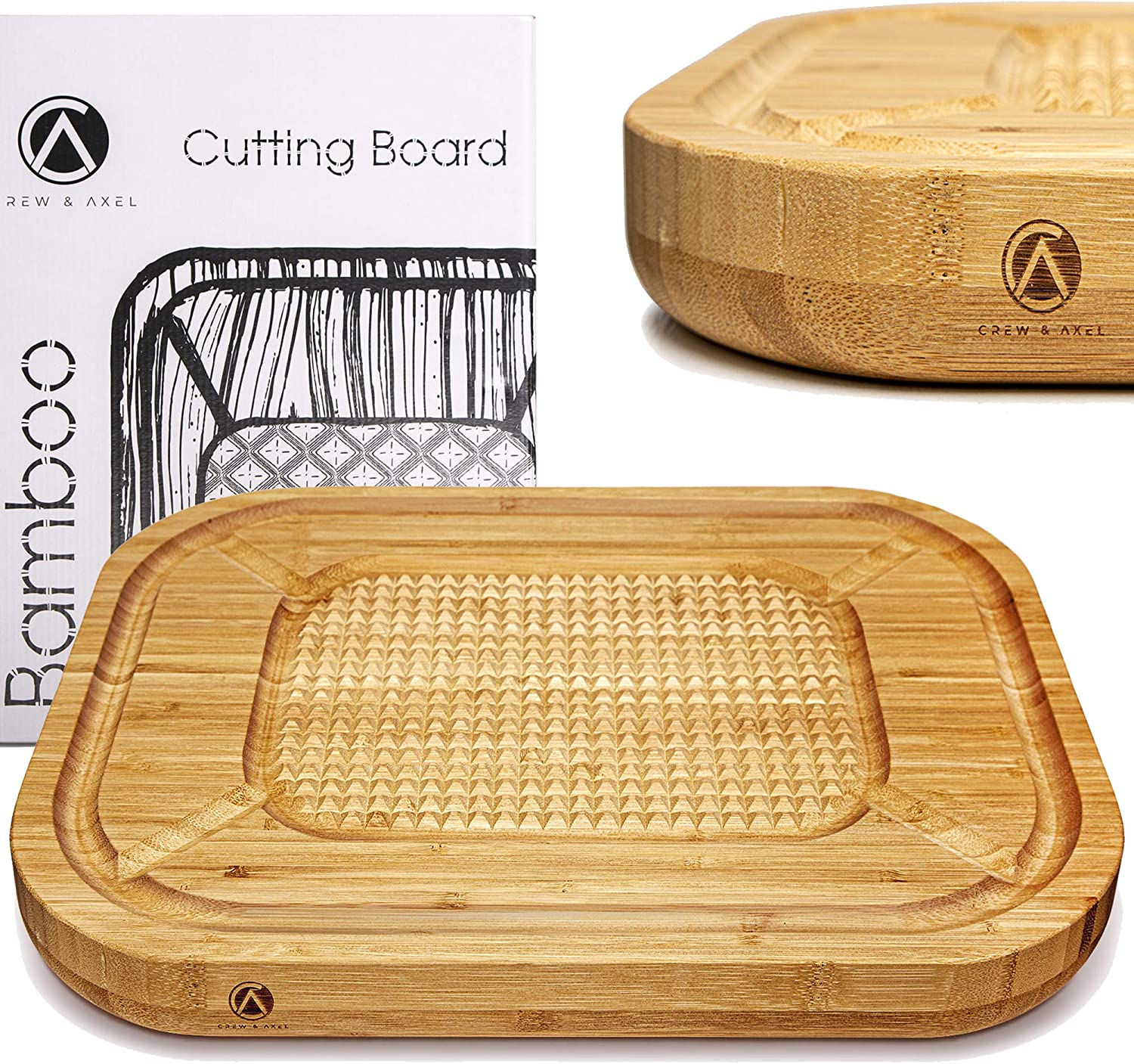 "Crew Axel Bamboo Cutting Board Extra Large Thick Butcher Block (17"" x 13"" x 1.5"") 100% Natural Countertop Carving Board - Reversible Anti Slip with Deep Juice Drip Grooves & Spikes -Thick Serving Tray"