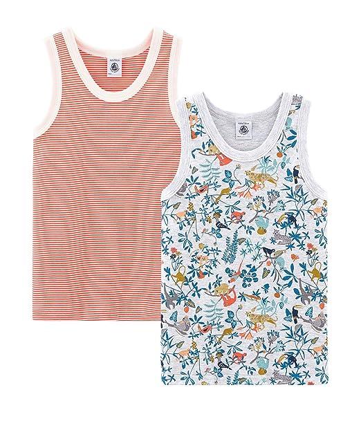 Petit Bateau Camiseta de Tirantes (Pack de 2 para Niños: Amazon.es ...