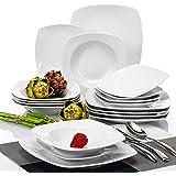 """Malacasa JULIA 18pcs Service de Table 6 Assiettes Creuse 6 Assiette à Dessert 6 Assiettes Plate Vaisselles Porcelaine Céramique 6pcs*9.5""""+6pcs*8""""+6pcs*6.5"""""""