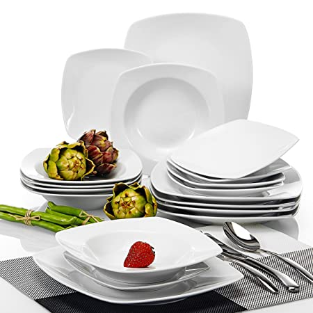 Malacasa Series Julia 18-Piece Ivory White Porcelain Dinner Set with 6-  sc 1 st  Amazon UK & Malacasa Series Julia 18-Piece Ivory White Porcelain Dinner Set ...