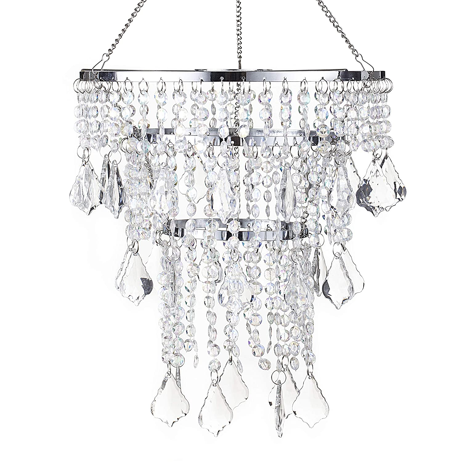 SUNLI HOUSE Modern Mini Acrylic Beaded Fixture Pendant Ceiling Chandelier Light for Wedding Bedroom Hallway Bathroom H11.4''XD8.6''