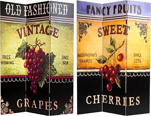 Oriental Furniture 6 ft. Tall Double Sided Grapes and Cherries Canvas Room Divider