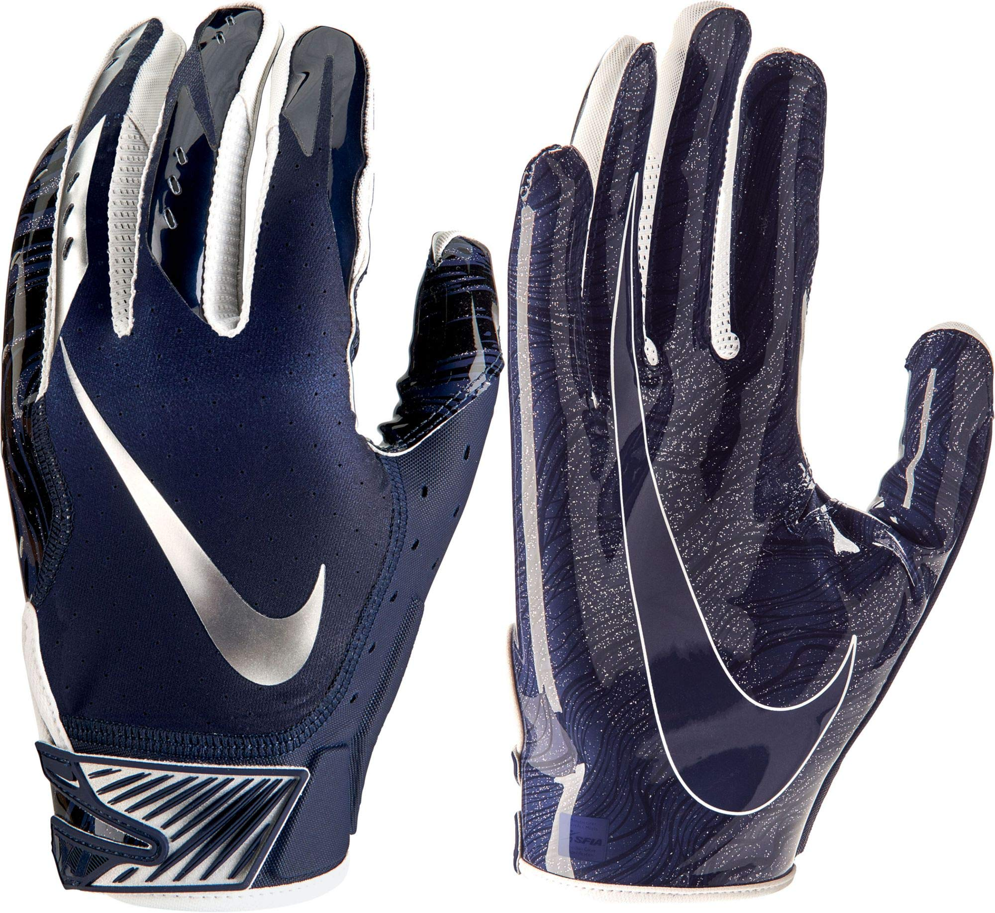 NIKE Mens Vapor Jet 5.0 Football Gloves Game College Navy/Chrome (College Navy/Chrome, Small)