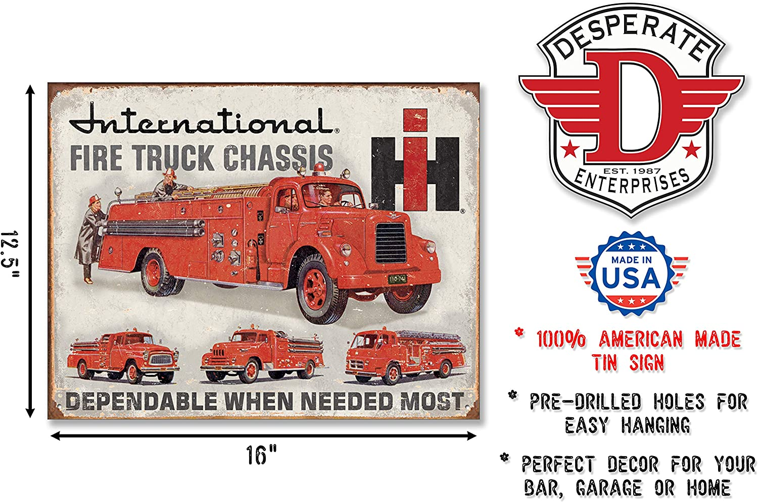 International Fire Truck Chassis Service Garage Disstressed Retro Metal Tin Sign
