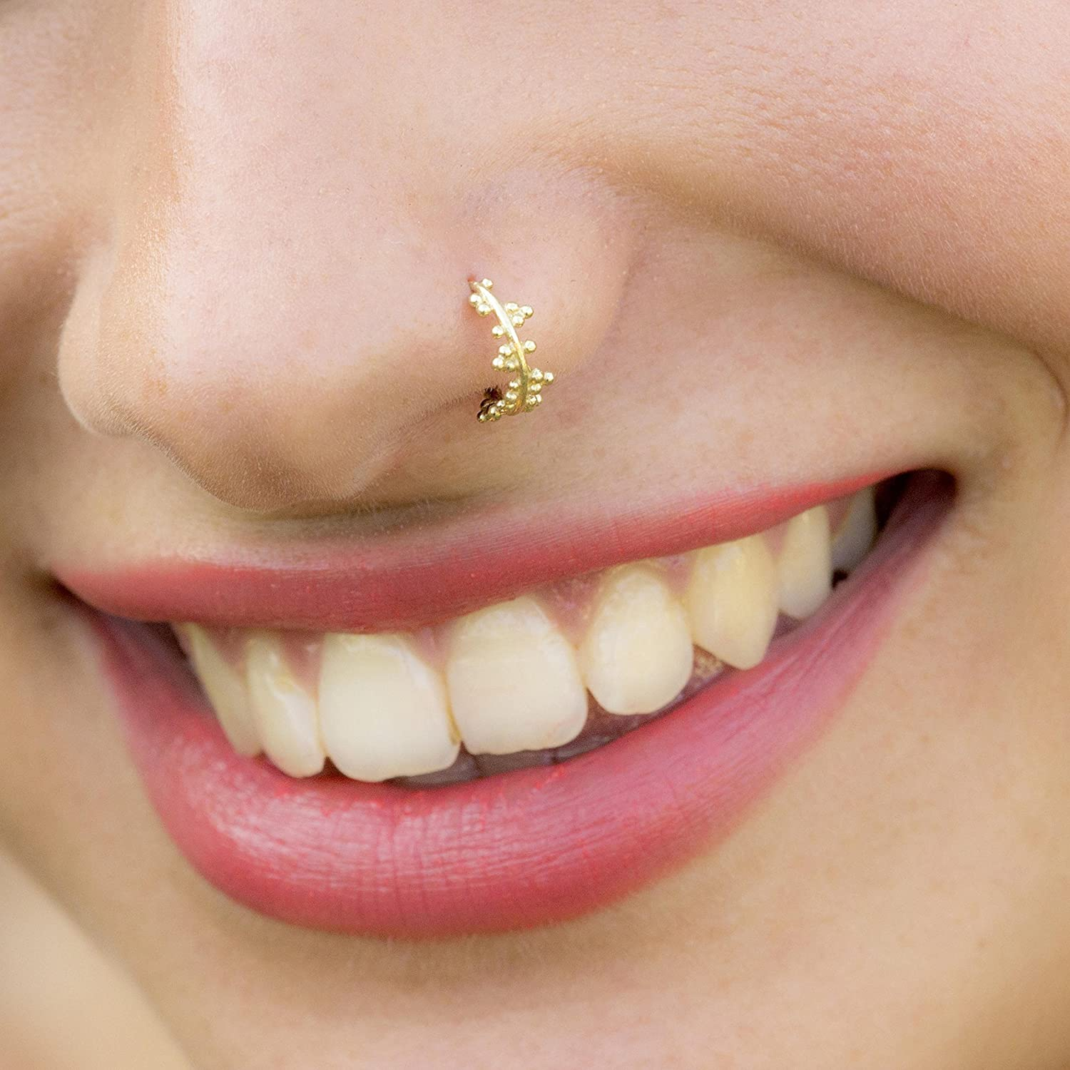 Unique Nose Hoop, Gold Plated Nose Ring Piercing, Tribal Indian Style, 20g, Handmade Body Jewelry by Alagia