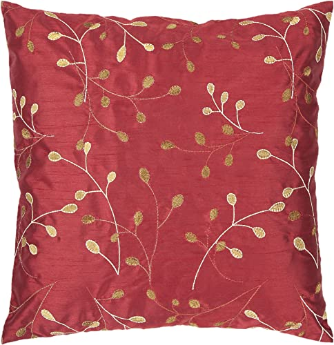 Artistic Weavers HH-093 Hand Crafted 100 Polyester Venetian Red 18 x 18 Floral Decorative Pillow