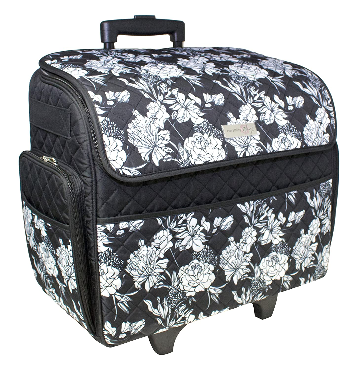 Everything Mary Quilted Sewing Machine Rolling Tote-18-inch x 9-inch x 18-inch Black and White EVM10130-1
